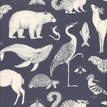 CARTA DA PARATI KATIE SCOTT ANIMALS blu scuro